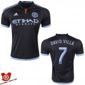 Camiseta David Villa New York City Segunda 2015 Negro Tailandia