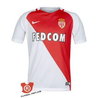 Camiseta AS Monaco Primera 2017 Blanco y Rojo