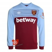 Camiseta Manga Larga West Ham United Primera 2020 Rojo y Azul